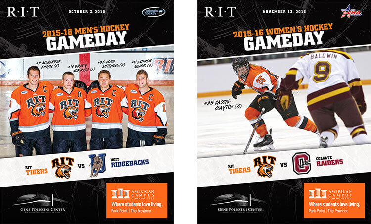 RIT Hockey game day program covers