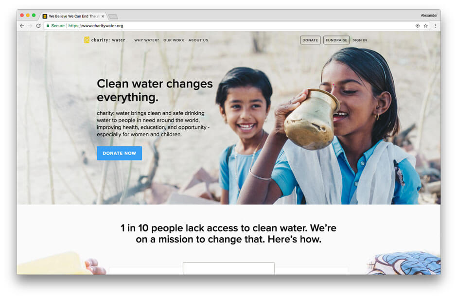 Charity Water non-profit website