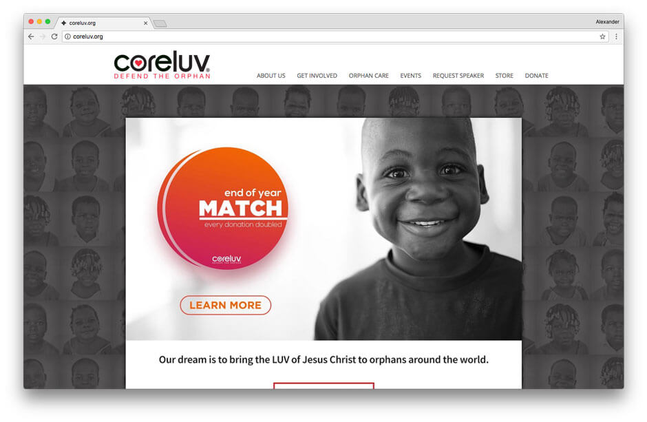 Coreluv non-profit website