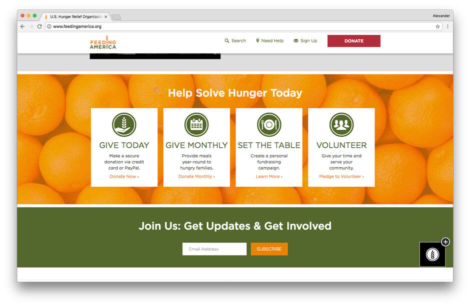 Feeding America non-profit website 2