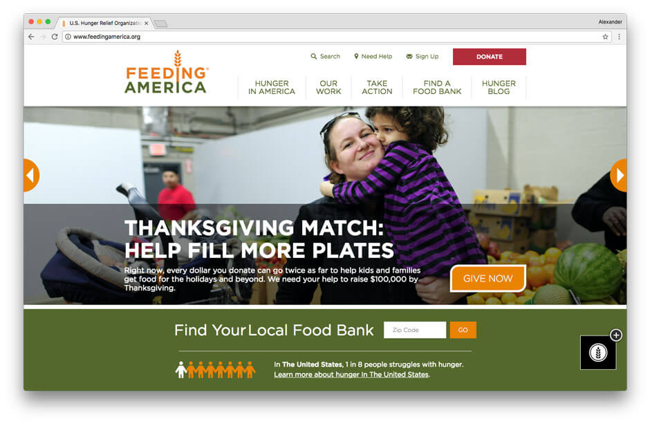 Feeding America non-profit website
