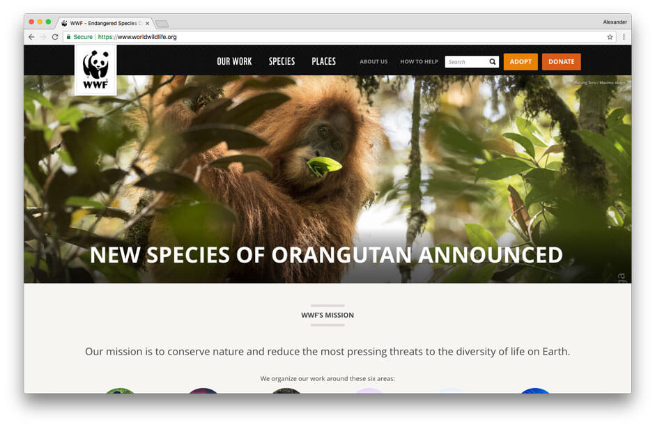 World Wildlife fund non-profit website