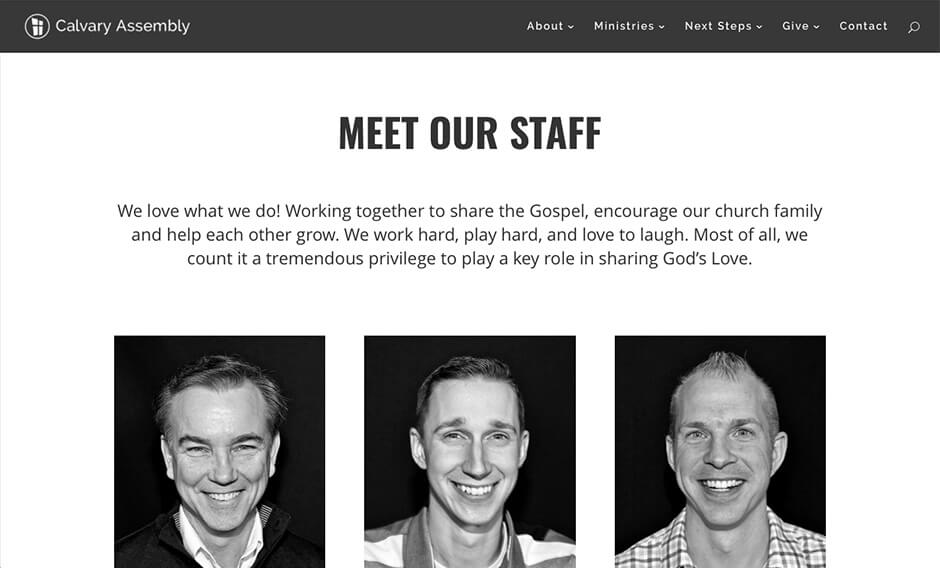 Calvary Assembly Rochester NY website staff page redesign